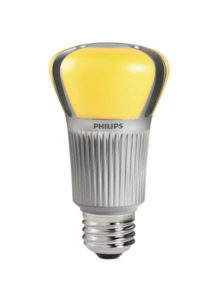 This LED lamp looks yellow, turns white when on.