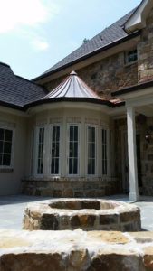 Here is a turret between the kitchen and the back patio.